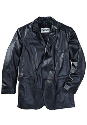 KingSize Men's Big & Tall Three-Button Leather Jacket, Black Big-4Xl