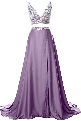 MACloth Gorgeous 2 Piece Long Prom Dress Straps V Neck Formal Party Evening Gown Wisteria