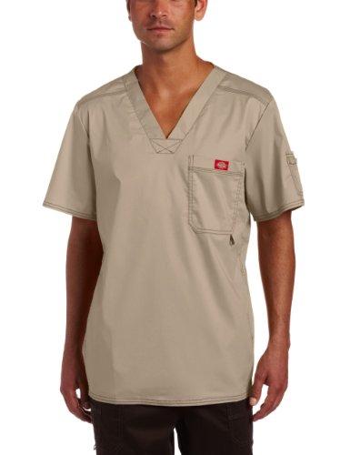 (Dickies Men's Big and Tall Generation Flex Utility Scrubs V-Neck Shirt, Dark Khaki, XXXXX-Large)