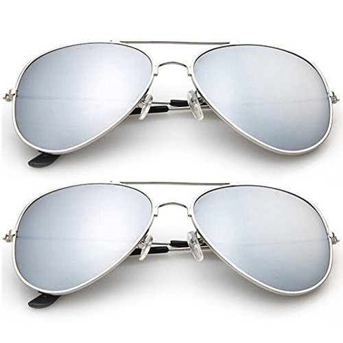 2-Pack: Designer-Inspired Mirrored Aviators Sunglasses