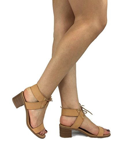 City Classified Women's Dress Sandal Chunky Heel Over Toe & Ankle Wrap Tie Front Strap Tan 6