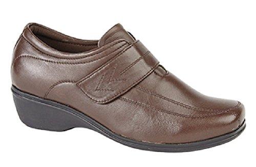 Mod Comfys KAREN Ladies Velcro Wedge Leather Shoes Black Brown 5tP9Lpkt