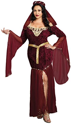 Dreamgirl Women's Plus-Size Medieval Enchantress Royal Maiden Costume, Burgundy, 3X/4X