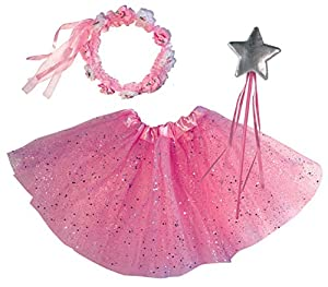 OLYPHAN Princess Dress Up - Halloween Fairy Princess Ballerina Costume: Pink Tutu, Magic Wand, Tiara for Girls