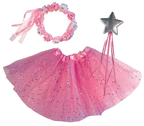 OLYPHAN Princess Tutu Dress Up Costume - Fairy Ballerina Gift: Pink Tutu, Magic Wand, Flower Tiara/Crown for -
