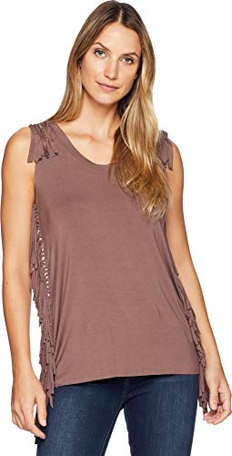 Wrangler Women's Short Sleeve Knit Fringe Tank Top Peppercorn Small