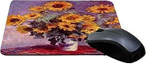 Rikki KnightTM Claude Monet Art Still Life with Sunflowers Design Lightning Series Gaming Mouse Pad