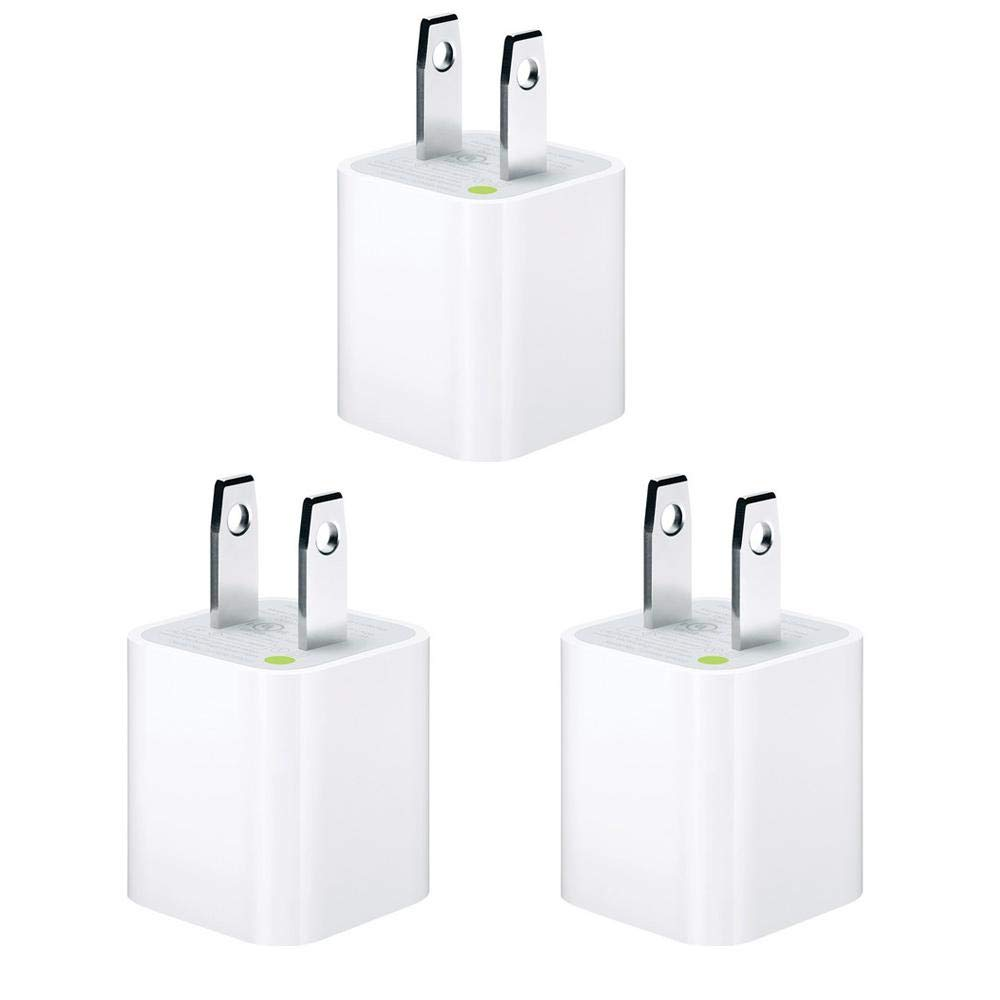 Apple 5W Wall Charger/Adapter Cube for All iPhones, iPods and iPads - 3 Pack, Value Bundle - Bulk Packaging (Renewed) by Apple