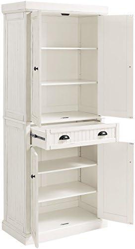 Amazon Com Crosley Furniture Seaside Kitchen Pantry Cabinet Distressed White Furniture Decor