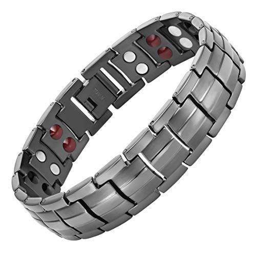 Willis Judd Double Strength 4 Element Titanium Magnetic Therapy Bracelet for Arthritis Pain Relief Gunmetal Colour Adjustable