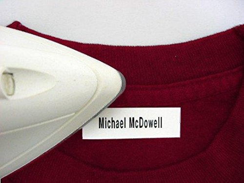 100 Pre-Cut Iron On Personalized Clothing Name Labels / Tags for Nursing Homes, Camp, College, Day Care, Uniforms and More