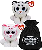 Ty Beanie Babies (Tigers Tundra & Tabor Gift Set Bundle with Bonus Matty's Toy Stop Storage Bag - 2 Pack