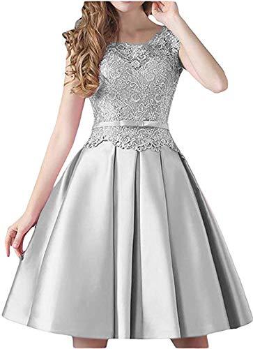 Vivian's bridal Women's Scoop Neck Sleeveless Lace Applique Prom Dress Satin Short Homecoming Dresses 2019 Silver 06