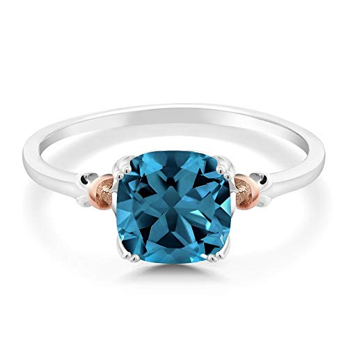 Gem Stone King 925 Sterling Silver and 10K Rose Gold Ring London Blue Topaz 2.74 cttw, 8x8mm Cushion Available 5,6,7,8,9