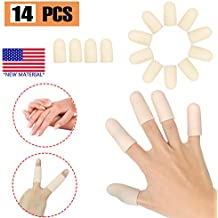 Gel Finger Cots, Finger Protector Support(14 PCS) New Material Finger Sleeves Great for Trigger Finger, Hand Eczema, Finger Cracking, Finger Arthritis and More. (Nude, Middle Size)