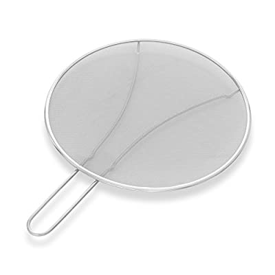 """Premium 13"""" Splatter Screen By Alpha & Sigma - Cooking Safety Fine Mesh Splatter Screen - Food Grade Stainless Steel - BPA-Free & Corrosion Resistant - Suitable For Cooking, Frying, Straining & More"""