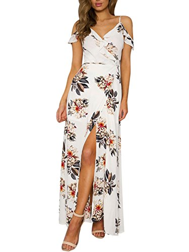 Simplee Apparel Women's Strap Ruffle Cold Shoulder Floral Print Wrap Maxi Dress Beach, White, 10, Large (For Women Engagement Dresses)