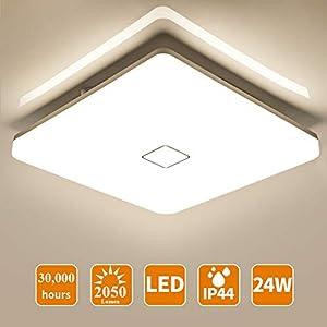 Ceiling Light Öuesen Bathroom Light 24W 2050LM Bathroom Ceiling Light Square Flush Led Ceiling Light for Bathroom Living…
