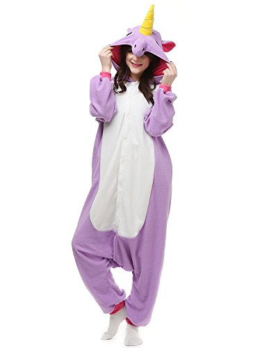 [Adults Onesies - Animal Women Mens Purple Unicorn Onesie Costumes Cosplay Outfit Pajamas Medium] (Parrot Costume Female)