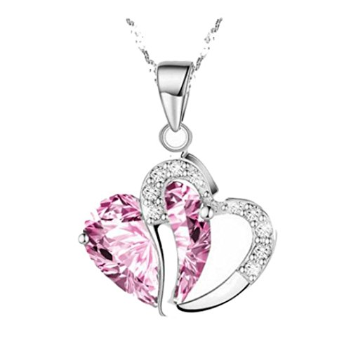 Women Heart Crystal Rhinestone Silver Chain Pendant Necklace Jewelry by TOPUNDER