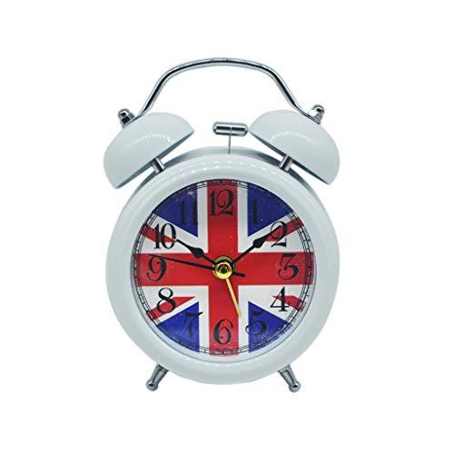 Despertador JXLBB 3 Pulgadas Británica M Palabra Bandera Snooze Bell Reloj Creativo Primaria Niños Simple Simple Muda de...