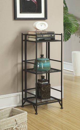 Convenience Concepts Designs2Go X-Tra Storage 3-Tier Folding Metal Shelf, Black (Dresser Door Base 2)