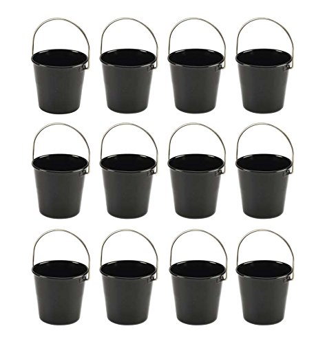 Mannily Metal Sauce Cups Bucket, 12-Pack ,2 Ounce Black Stackable Mise en Place Cups(Black) Fluted Sauce