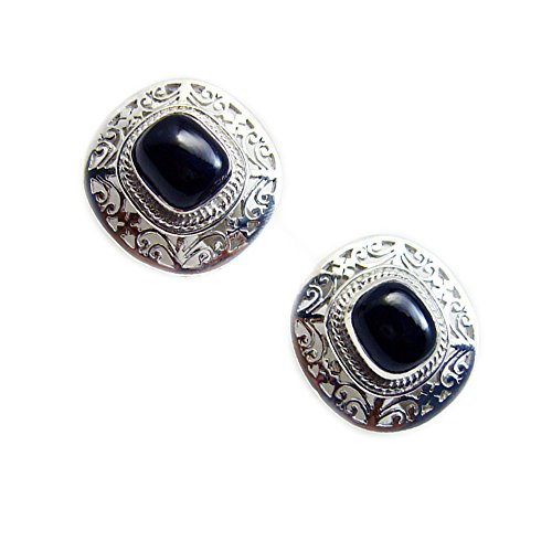 Gemsonclick Natural Black Onyx Earrings For Women 925 Sterling Fashion Push Back Rectangle Shape Cluster