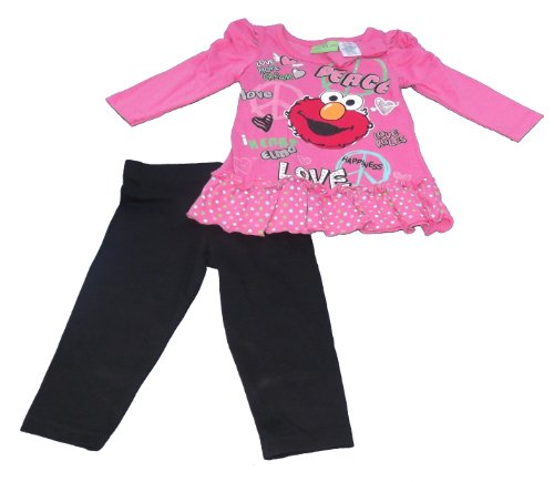 Sesame Street Baby Girls' Peace Love Elmo Legging Set, Pink, 12 Months