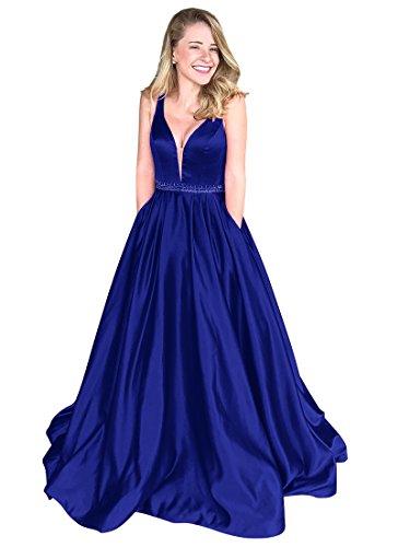 Blau Ausschnitt Royal V Frauen Lang Satin Ballkleid Lovelybride tiefem Party Abendkleid Kleid vg7cPqWnp