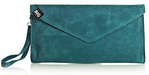 Z soirée Soldé LIATALIA suède Soldé Sombre Vert 'Leah' z italien style clutch Violet de en Turquoise clair Pochette enveloppe EwZqPF6w