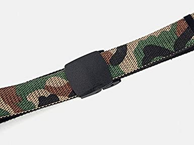 QIU PING Men and Women Without Metal Buckle Camouflage Double-sided Canvas Woven Casual Cotton Belt