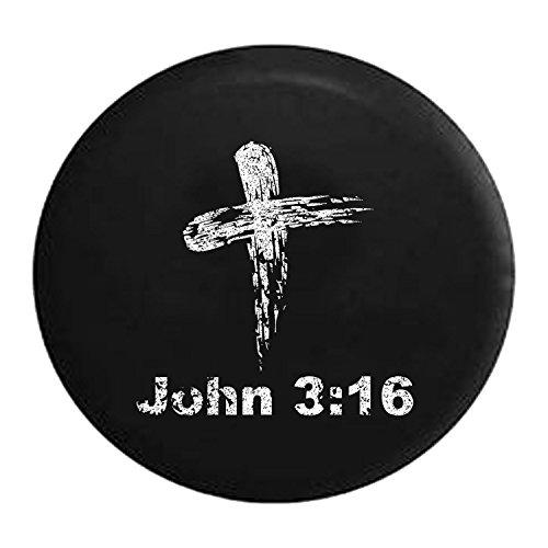 (Distressed - John 3:16 Bible Verse God Cross Spare Jeep Wrangler Camper SUV Tire Cover 32 Inch)