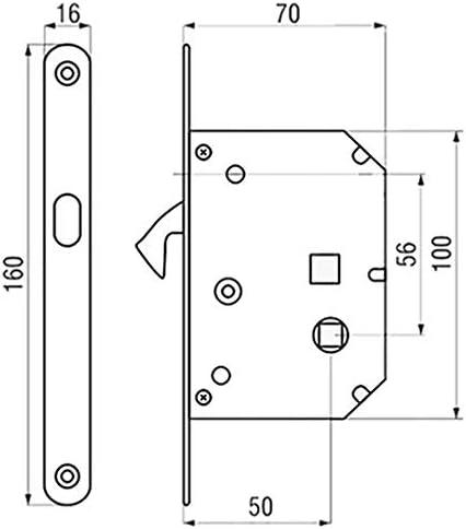 Serrure à crochet de porte coulissante + rosaces + poignée doigt chromée satinée: Amazon.es: Bricolaje y herramientas