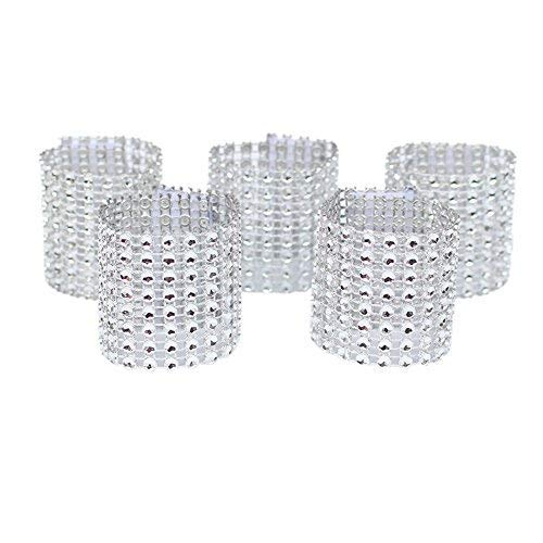 Dzty 50pcs Rhinestone Mesh Bling Napkin Rings for Wedding Decoration, Plastic Chair Sash Bows,Napkin Holder for DIY Party Birthday Banquet Supply (Silver)]()