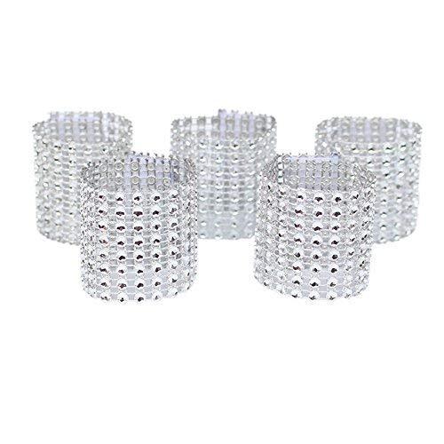 (Dzty 50pcs Rhinestone Mesh Bling Napkin Rings for Wedding Decoration, Plastic Chair Sash Bows,Napkin Holder for DIY Party Birthday Banquet Supply (Silver))