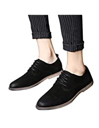 Men's Brogue Shoes Fashion Retro Wing Tip Lace Up Casual Oxfords by Santimon Black Blue Grey