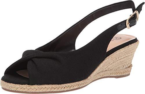 Bella Vita Women's Sylvie II Espadrille Sandal Shoe, Black Linen, 12 M US