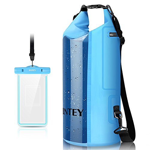 INTEY Camping Gear Dry Bag Kayaking Waterproof Dry Bags for Camping & Traveling & Hiking with Waterproof Phone Bag 10L