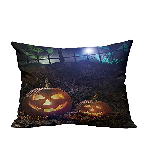 YouXianHome Household Pillowcase Halloween Pumpkins on Rocks in a Forest at Night Perfect for Travel(Double-Sided Printing) 13x17.5 inch -