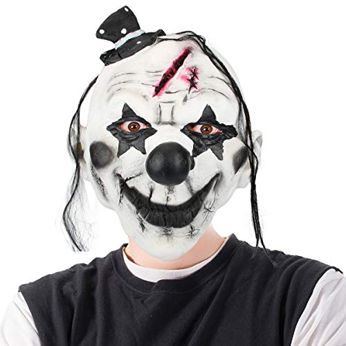 Libay Halloween Scary Clown Mask for Adults, Horrific Demon Clown Cosplay Costume Party Props Devil Zombie Mask (Black Hat Clown) ()