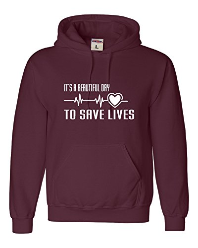 - Go All Out X-Large Maroon Adult It's A Beautiful Day to Save Lives Sweatshirt Hoodie