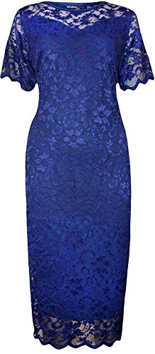 WearAll Plus Size Women's Lace Lined Short Sleeve Midi Dress - Royal Blue - US 16 (UK 20)