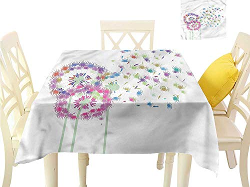 WilliamsDecor Fabric Tablecloth Dandelion,Colorful Floral Theme Printed Tablecloth W 54