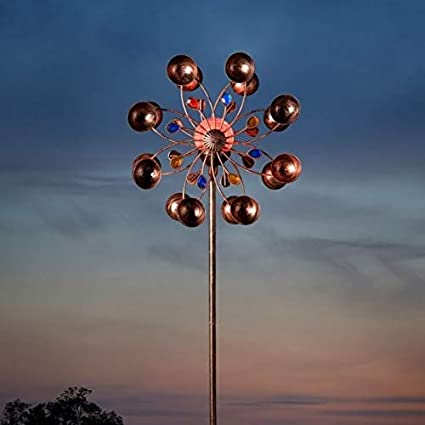 Smart Solar Spiro Outdoor Wind Spinner with Solar Powered Crackle Ball Light