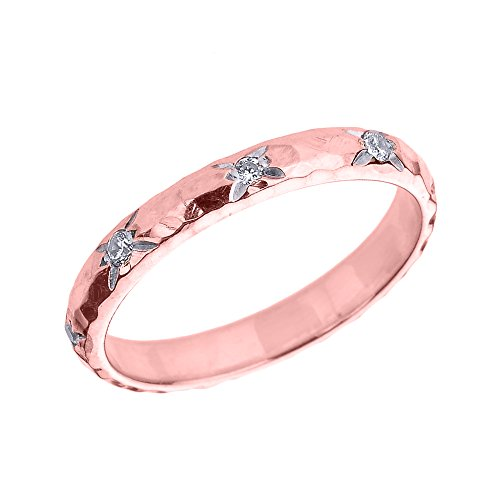 Bague Femme 14 Ct Or Rose 3 Mm Martelé Diamant