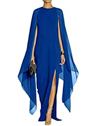 Womens Chiffon Stylish Irregular Slit Bawting Sleeve Long Dress