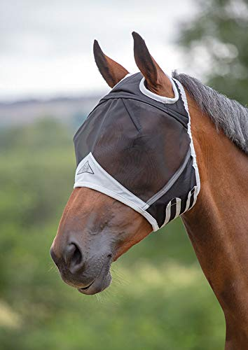 Shires Fine Mesh Fly Mask with Ear Holes, Black, ()
