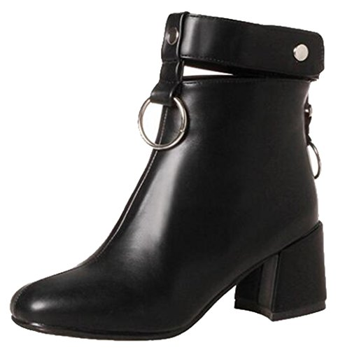 Easemax Womens Trendy Rings Strap Square Toe Mid Chunky Heel Zipper Ankle Boots Black nwMBGzw3