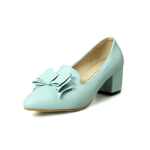 AmoonyFashion Women's Pointed Closed Toe Kitten Heels Soft Material Solid Pull On Pumps-Shoes, Blue, 38